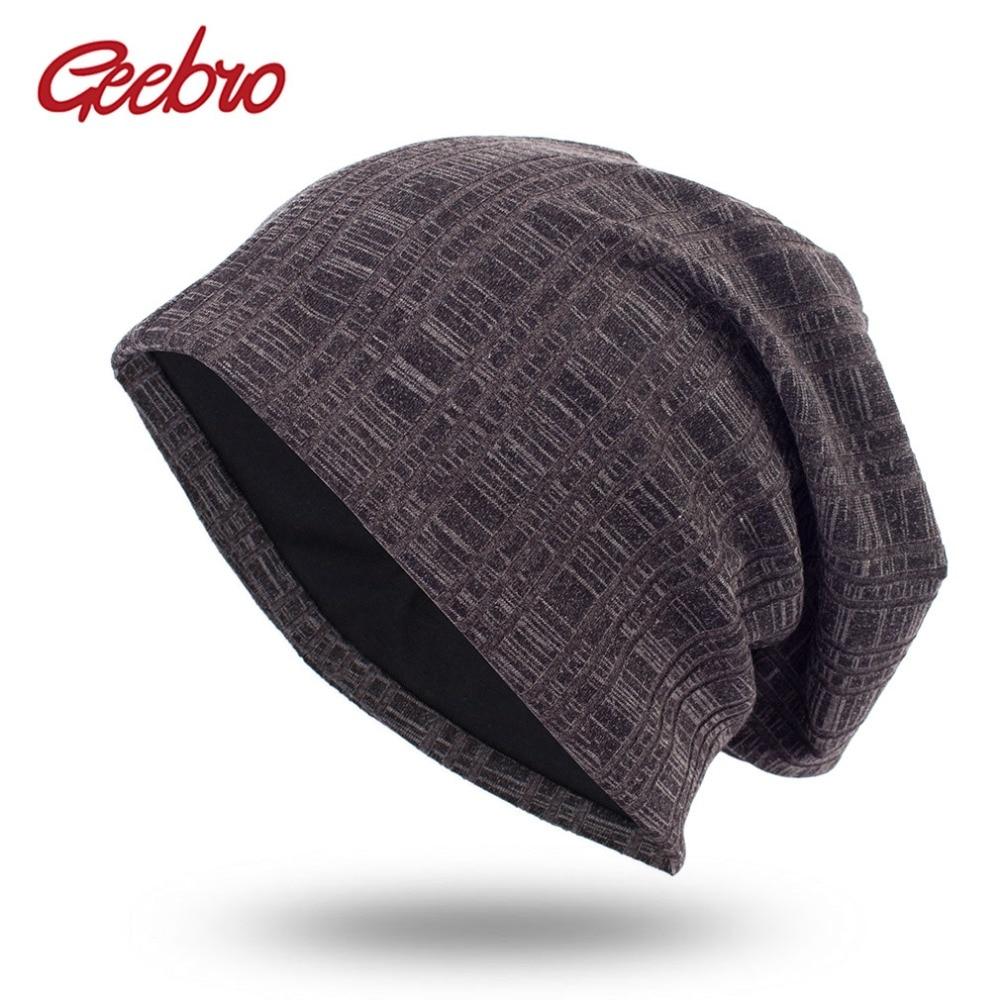 0b1c93e9fca Geebro Men Women Knitted Ribbed Beanies Hat Spring Plaid Color Cotton  Slouchy Beanie Hats Ladies Skullies Cap chapeu feminino
