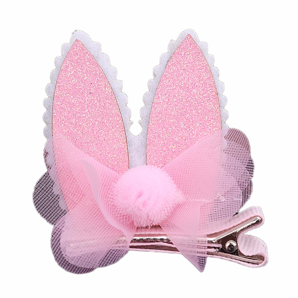 ovely Rabbit Cat Ear Hair Clips Glitter Kid Girls Hairpins Barrettes Party in Hair Accessories from Mother Kids