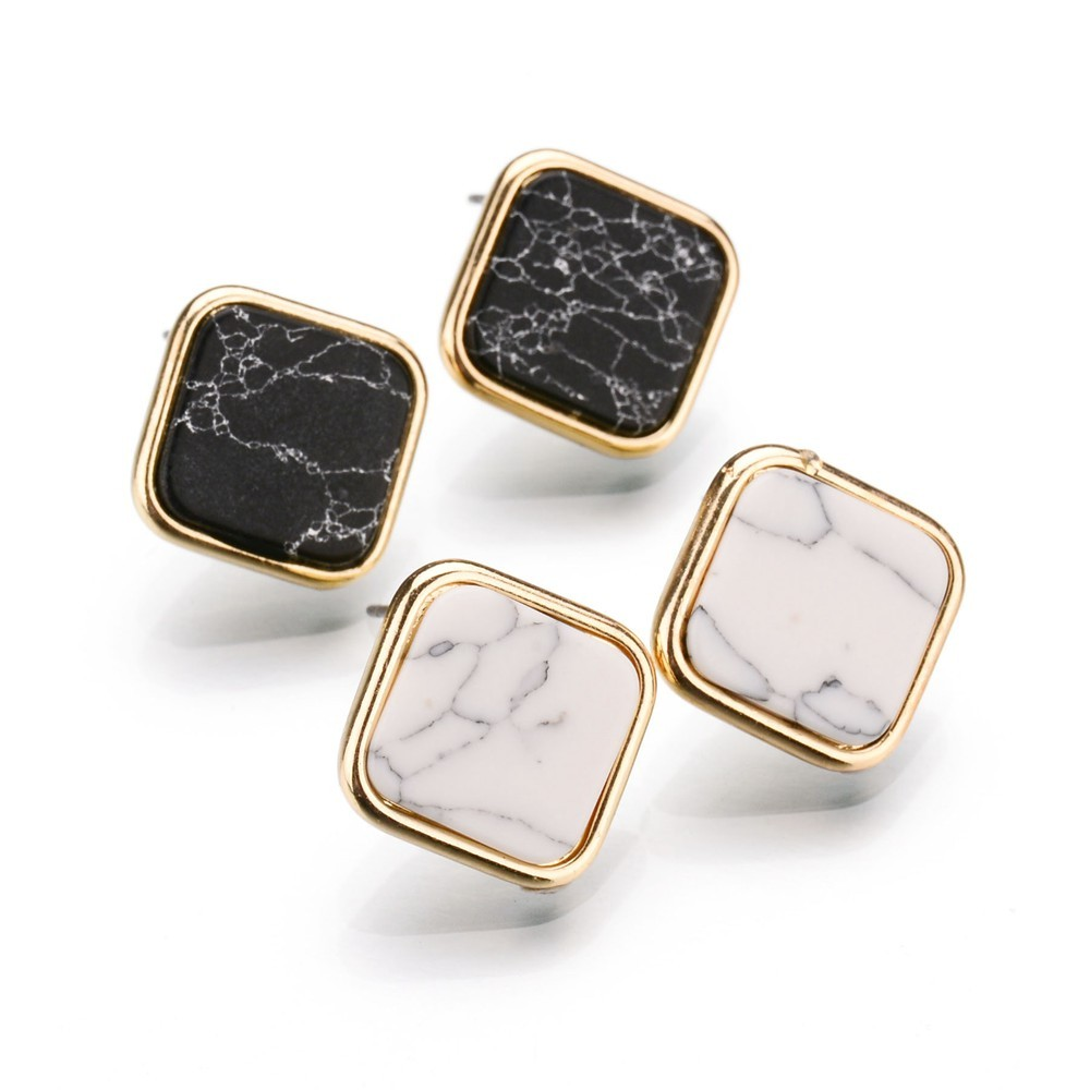 Concise Jewelry Fashion Punk Black White Faux Marbled Stone Square Stud Earrings For Women Gold Color Brincos