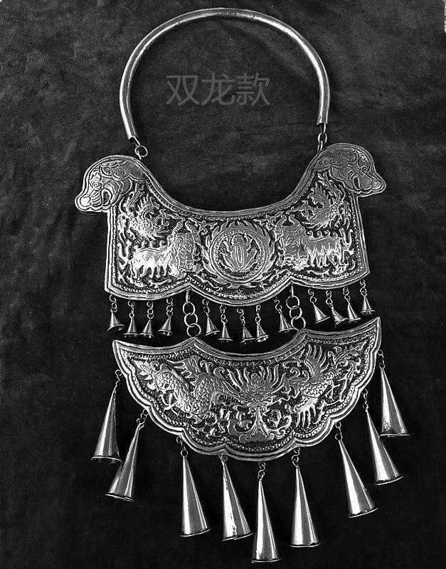 Vente chaude nouveau livraison gratuite à la main Miao argent ornement gravure dragon Phoenix tauromachie culture grand collier - 4