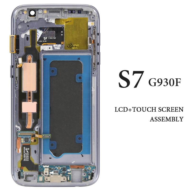 Testé AMOLED pour Samsung Galaxy S7 LCD avec cadre noir blanc or argent rose G930F tactile assemblée LCD testé un par un