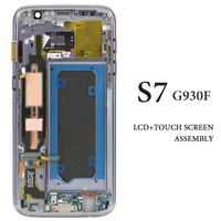 Tested AMOLED For Samsung Galaxy S7 LCD With Frame Black White Gold Silver Pink G930F Touch Assembly LCD Tested one by one
