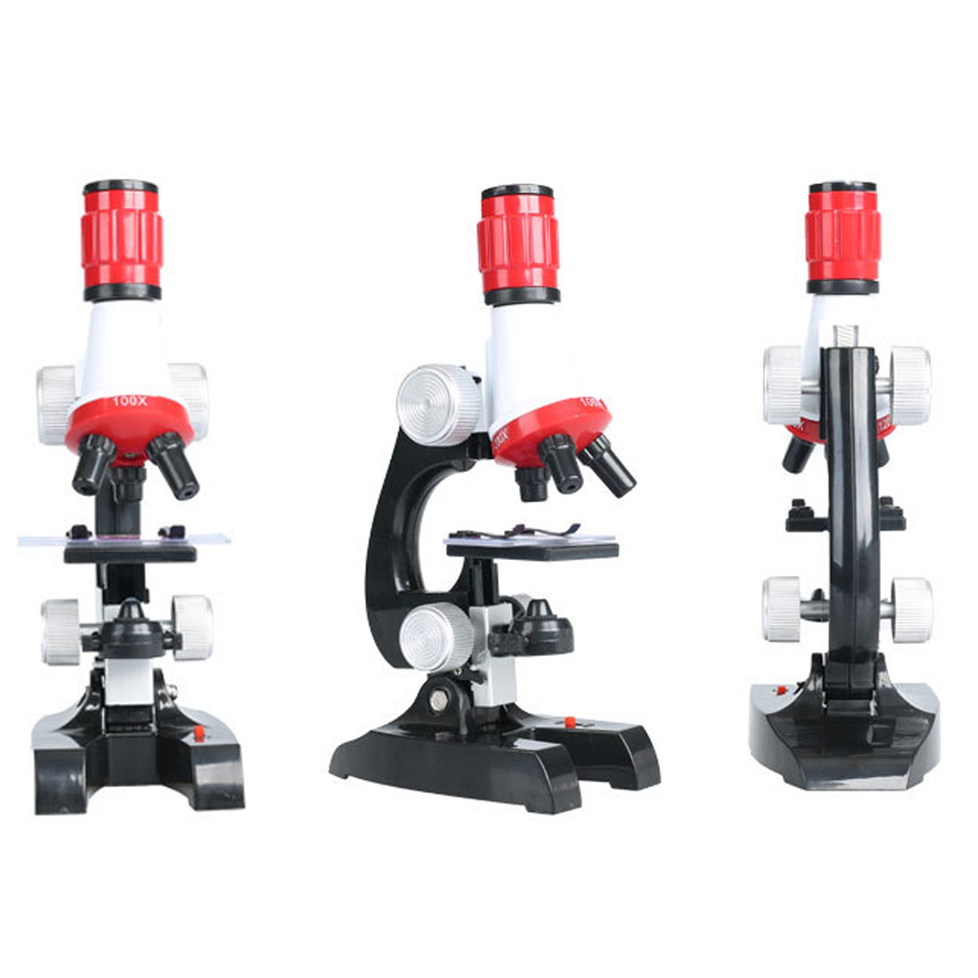 1pc Home School Science Educational Supplies Refined Biological 100X/400X/1200X Microscope + 12/24/36 specimen