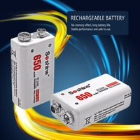 Soshine 2pcs Power Battery 6F22 9V Li Ion Lithium 650mAh Chemistry Rechargeable Battery For Electronic Instruments