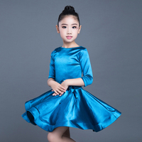 Latin Dance Dress Girls Children Bright Satin Professional Ballroom Practice Wear For Kids Stage Performance Outfits DL3191