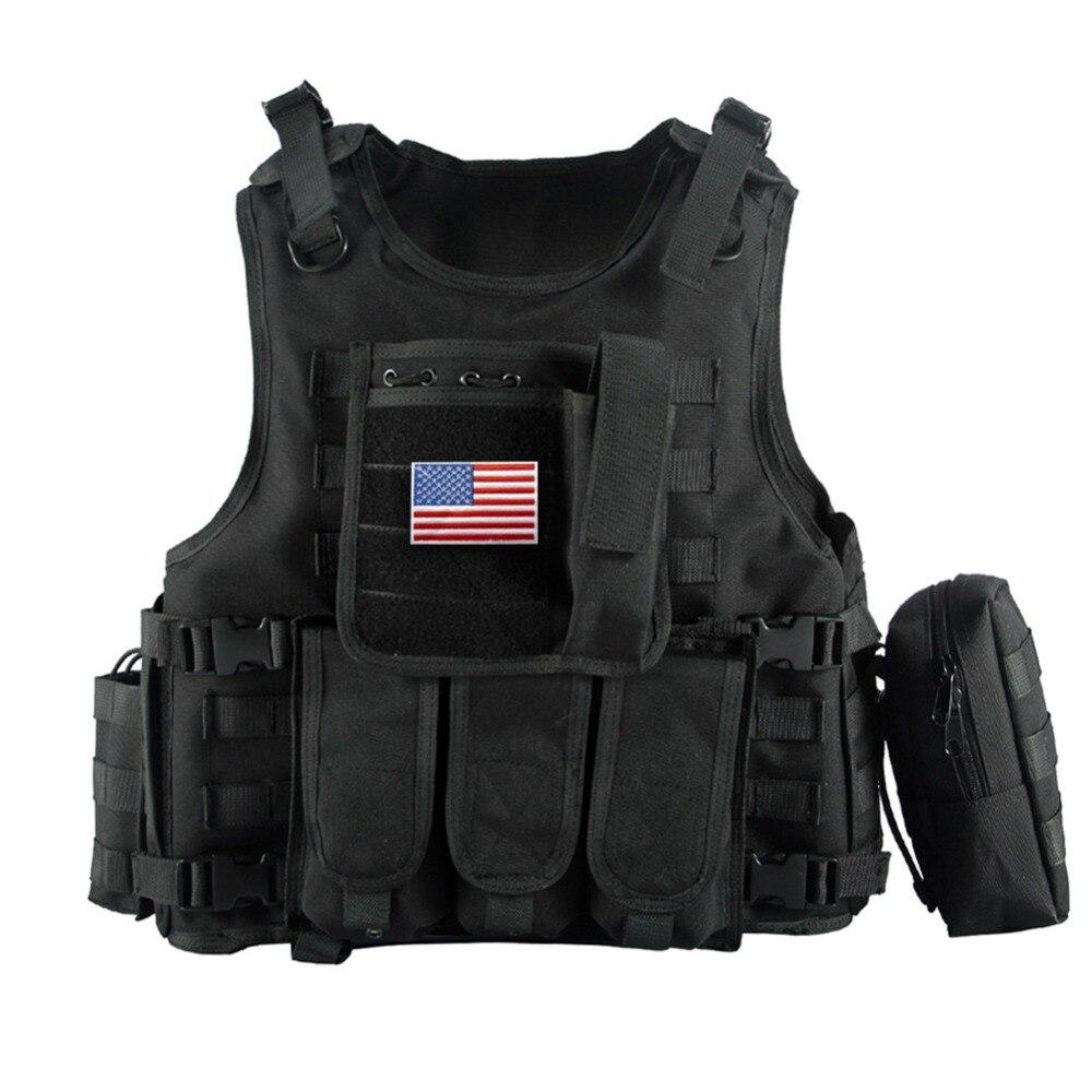 2016 Gilet Tattico Militare Mimetico Body Armor Abbigliamento Sportivo Caccia Vest Army Molle polizia giubbotto antiproiettile Nero