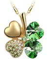Top Quality Colorful Crystal Clover Austrian Pendant Necklace Fashion Jewelry elegant women gift cheapest price 9554
