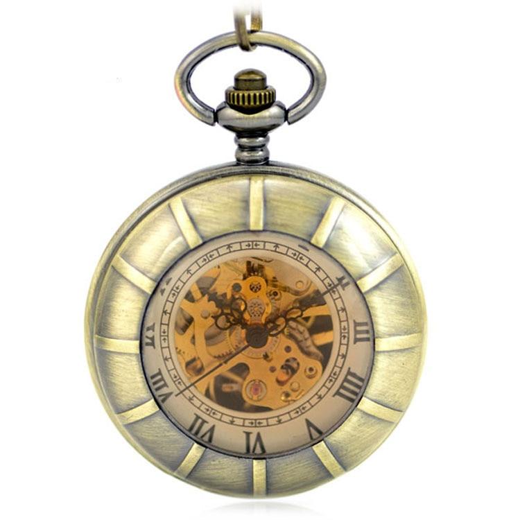 Brown Modern Skeleton Mechanical Hand Wind Pocket & Fob Watch Clamshell Magnifier Women's Pendant Pocket Watch Full Hunter Gift