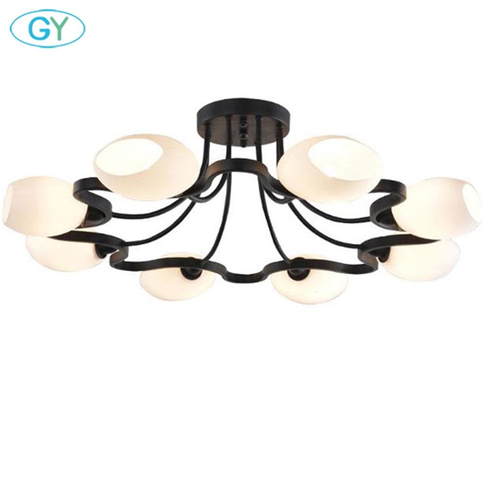 American Iron Ceiling chandelier dormitorio europeo moderno salón lámpara restaurante 4/6/8/10 circulars pantalla lechosa lustres