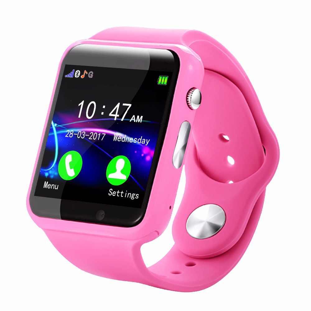 Силиконовые Детские Смарт-часы с Bluetooth, умные A1S Поддержка SIM TF карты для Android IOS Телефон детская камера Для женщин цифровые часы