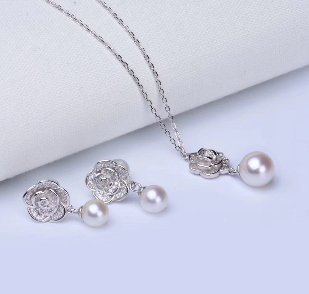925 Sterling Silver Pearl Party Pendant Earrings Set Mounts Findings Exquisite Jewelry Set Parts Fittings Women's Accessories