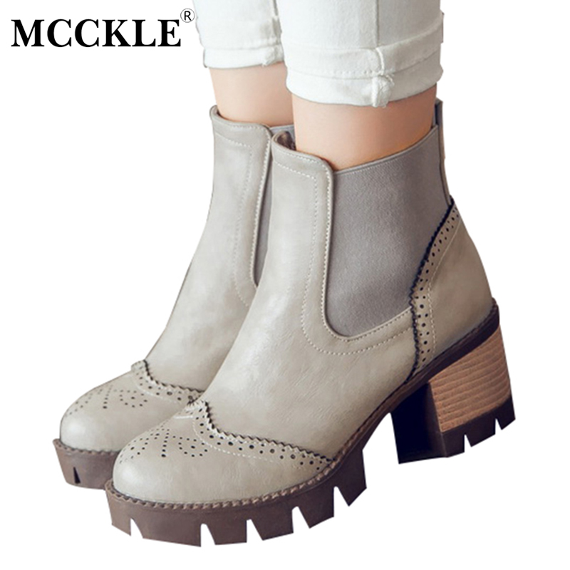 MCCKLE Woman Vintage Slip On Elastic Band Ankle Boots 2017 Ladies Fashion Autumn Platform Leather Plus Size Black Shoes mcckle women high heels ankle boots female buckle slip on suede shoes woman platform spring autumn casual shoes black size 35 39