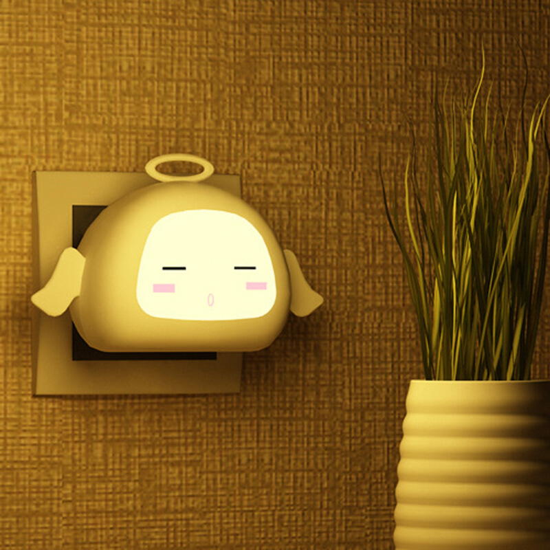 Smart Light Sensor Auto Control Night Light Mini US Plug Novelty Angel Bedroom Wall Lamp for Baby Gift Toilet Lights
