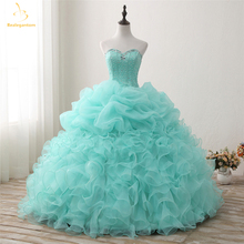 Bealegantom 2018 Nouvelle Véritable Photo Mint Quinceanera Robes De Bal Robe Perlée Doux 16 Robe Pour 15 Ans Robes De 15 Anos QA1301