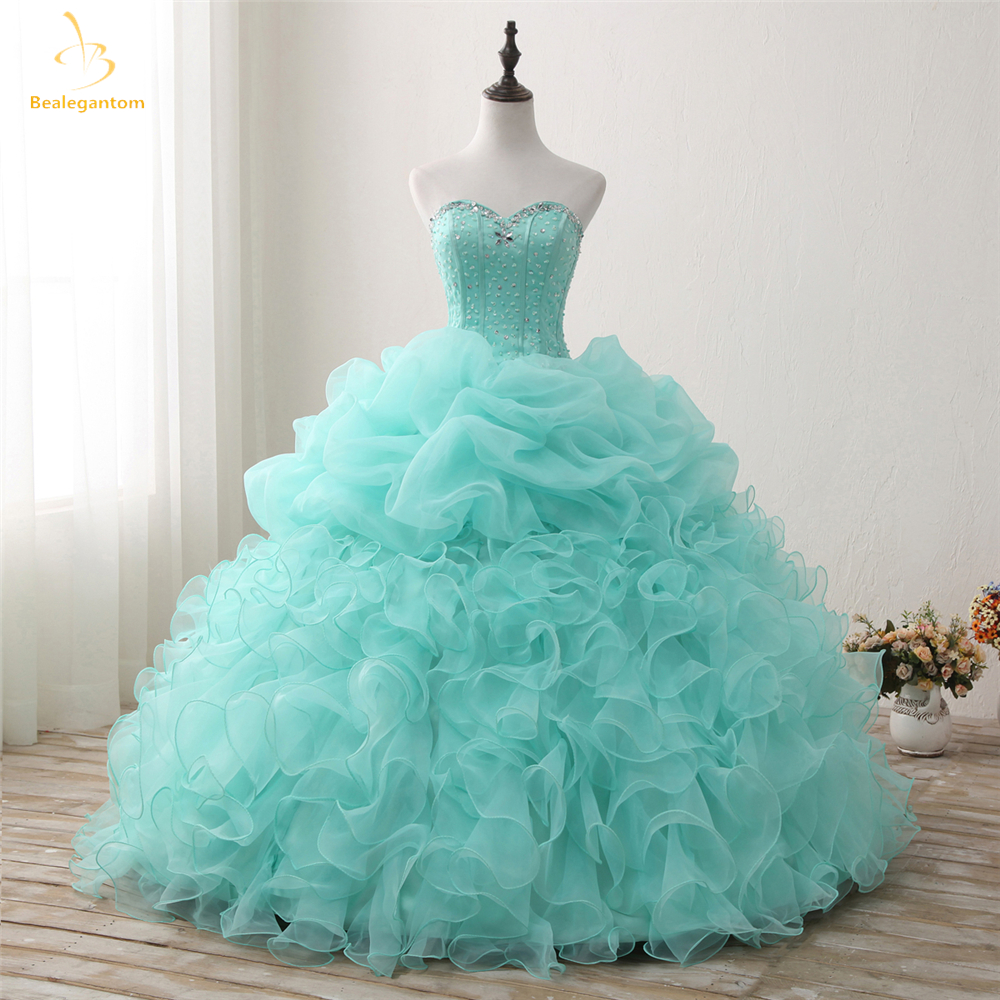 Bealegantom 2018 New Real Photo Mint Quinceanera Dresses Ball Gown - Հատուկ առիթի զգեստներ