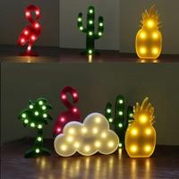 Horsten 2017 INS Flamingo LED Night Light Cloud 3D Sign Pineapple Cactus Desk Table Lamp Battery