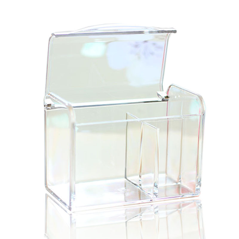Transparent Clamshell Cosmetic Storage Box Score Makeup Cotton Swab Storage Box Desktop Lipstick Makeup Cotton Dressing Table in Storage Boxes Bins from Home Garden