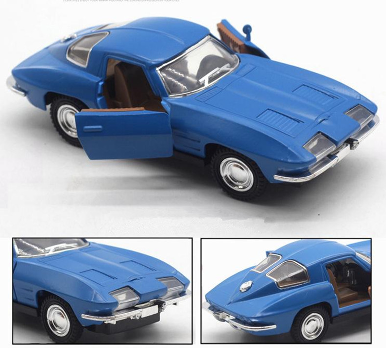 1:32 High Simulation Alloy Pull Back Model Car,Corvette Classic Retro Car 2open The Door,diecast Metal Toy Vehicle,free Shipping