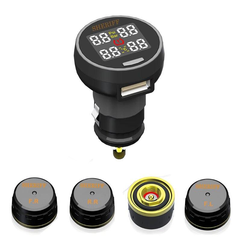 imágenes para Sheriff Auto Inalámbrico Universal TPMS Sensor de Presión de Neumáticos Sistema de Monitoreo de Presión de Neumáticos con toma USB muestran la temperatura