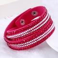 2016 Fashion Jewelry New Crystals Women Bracelets Wholesale Rhinestone Handmade Red Multilayer Wrap Leather Bracelets Femme