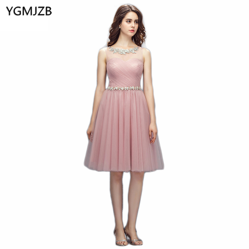 2018 New Fashion Cocktail Dresses 2018 A Line Sheer Scoop Neck Beaded Sashes Lace Tulle Short Dress Party Cocktail Dresses