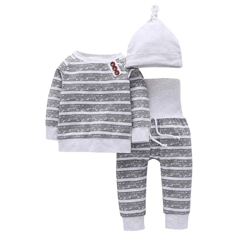 3Pcs/Set Baby Clothes Kids Sets Autumn Baby Boys Clothes Infant Striped T-shirt+Pants+Hat Kids Outfits Toddler Suit kids clothes sets wholesale spring and autumn boys sports leisure suit t shirt hoodie long pants free shipping in stock