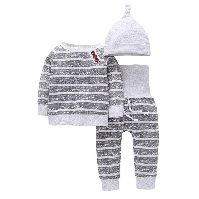 3Pcs/Set Baby Clothes Kids Sets Autumn Baby Boys Clothes Infant Striped T-shirt+Pants+Hat Kids Outfits Toddler Suit