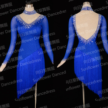 Hot-Selling Latin Dress!New Competition fringe Latin dance dress,Long sleeves,girls dancing latin samba,royalblue