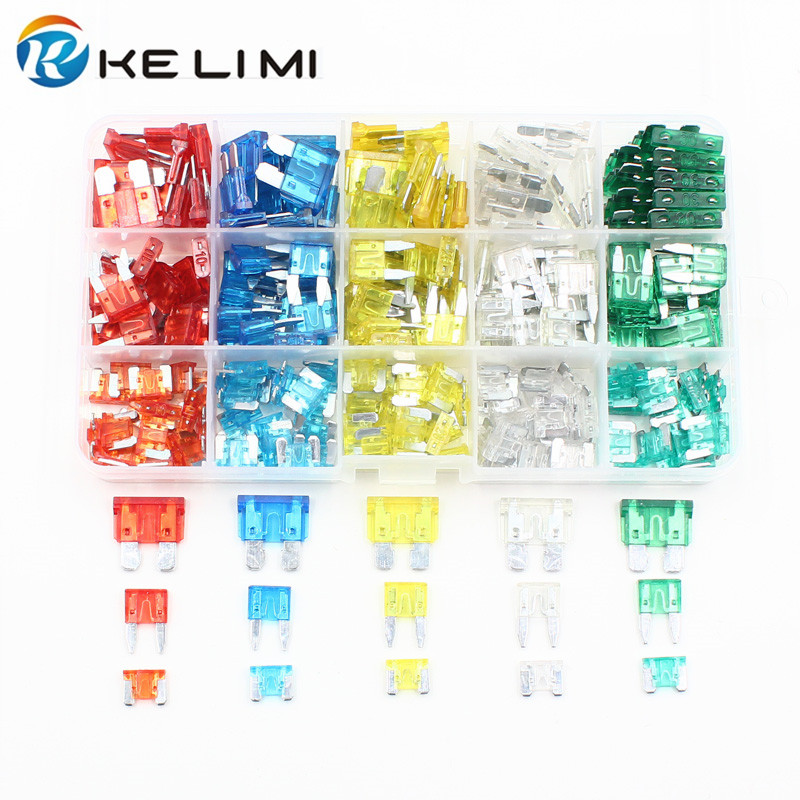 KELIMI Set Kit 10A 15A 20A 25A 30A Car Auto Truck Motorcycle Circuit Standard ATO Blade Fuse Boxes Low-profile Mini Fuse