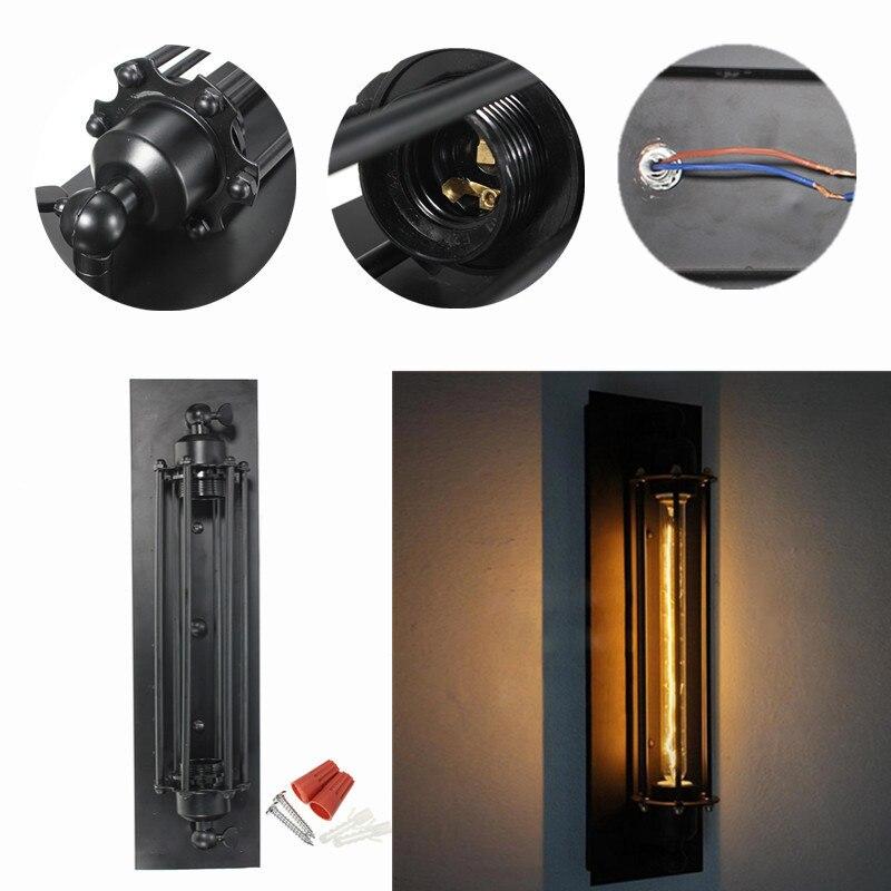 Rétro support de lumière T300 industriel rustique Long noir applique murale plaque lampe Vintage éclairage Base