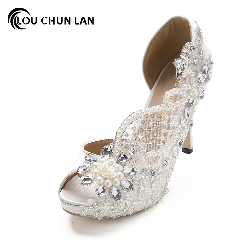 Women Pumps Shoes Open toe lace wedding shoes pearl rhinestone bride dress ultra high heels crystal silks satins female 41 42 43 love moments wedding shoes bride high heels women pumps pointed toe buckle strap handmade rhinestone crystal party dress shoes