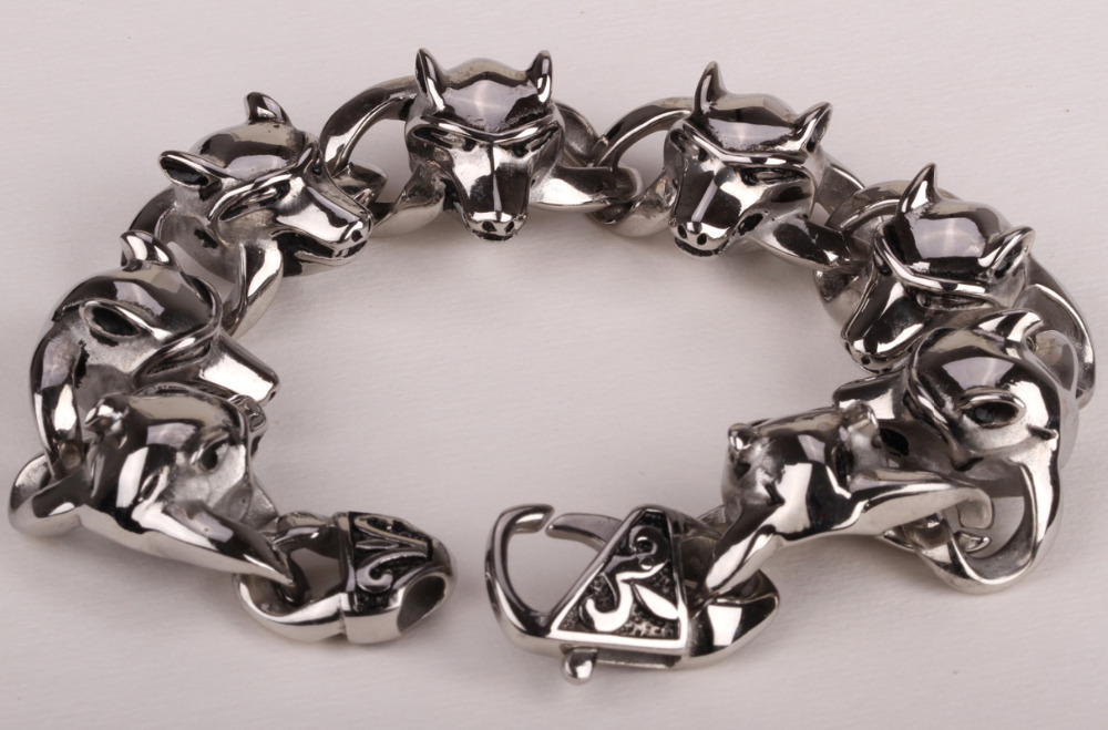 Wolf stainless steel bracelet for men KIDS 316L biker jewelry heavy hiphop jewelry GB215 wholesale DROPSHIP 8.5