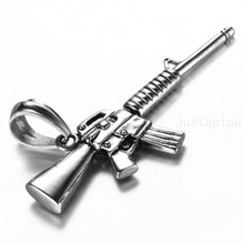 High Quality Silver 316L Stainless Steel Jewelry Charm Hot Boy&Mens M4A1 Rifle Gun Pendant Necklace Chain