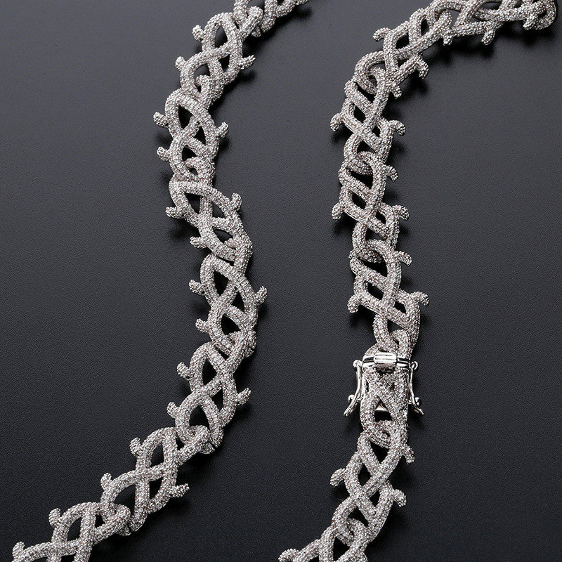 Iced out Bling Full Zircon Thorns Rhinestone Cuban Chain Hip Hop Men 39 s Chains Necklace For Men Women Jewelry Wholesale in Chain Necklaces from Jewelry amp Accessories
