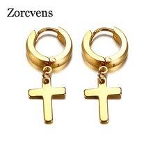 ZORCVENS Cross Earrings for Women Men Gold Color Stainless Steel Men's Drop Earrings Religious Jewelry