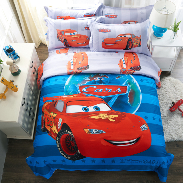 US 85 7 DISNEY 100 Cotton Cartoon Mcqueen Cars Bedding Set Blue Duvet Cover Single Double Queen King Size Bedclothes 4PCS Beddings In Bedding Sets