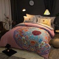 高級エジプト綿の寝具セットピンクの花クイーンキング布団カバーセットフラットシート枕東洋ヴィンテージファッションスタイ