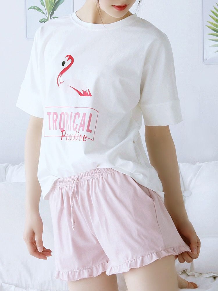 Flamingos Short Sleeved + Shorts Home Suit Spot 100% Cotton   Pajama     Sets   Summer Nightly Round Neck Womens pijama home clothing