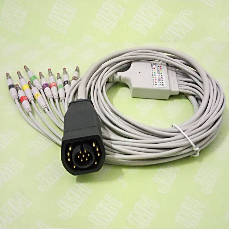Compatible with 15pin ZOLL ECG/EKG machine the 10 lead IEC 4.0mm banana plug ECG cable new 10 lead patient ecg ekg cable for all schiller cardiovit machines