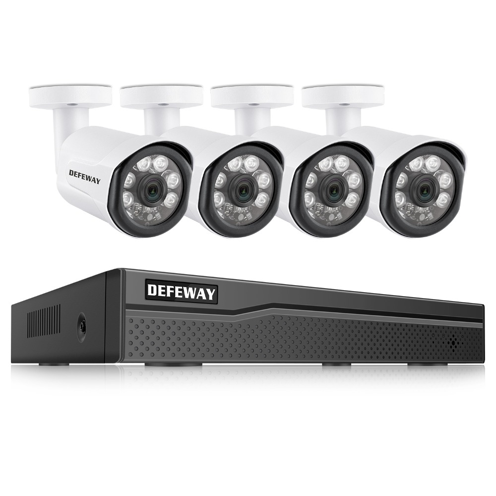 DEFEWAY HD 4CH NVR 1080P POE H.265 48V CCTV System Kit 2MP Waterproof Security IP Camera POE CCTV System Outdoor IR Night Vision h 265 4ch cctv system 5mp 3mp 2mp metal outdoor ip camera 4ch 1080p poe nvr kit alarm email night vision app pc remote