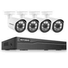 Defeway HD 4CH NVR 1080 P POE H.265 + 48 V комплект системы видеонаблюдения 2MP Водонепроницаемый безопасности IP Камера POE CCTV Системы открытый Ночное видение