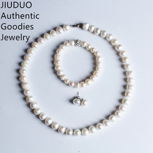 JIUDUO New Luxury Suite Natural Freshwater Pearl Bracelet Earrings and Necklace Bridal Wedding Set Jewlery Sets