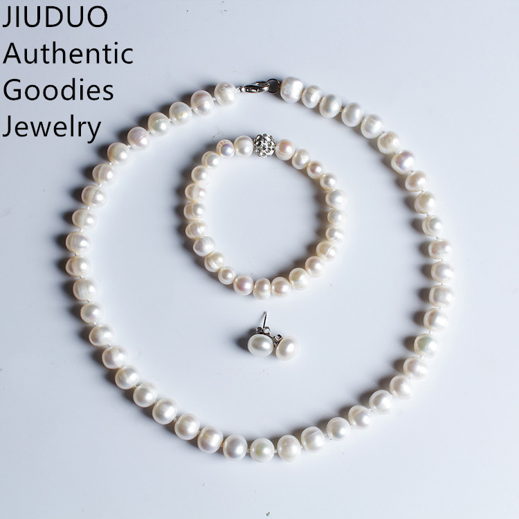 JIUDUO New Luxury Suite Natural Freshwater Pearl Bracelet Earrings and Necklace Bridal Wedding Set font b