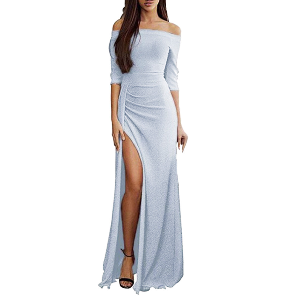YOUYEDIAN 2018 Women Off Shoulder Dresses High Split Maxi Long Dresses-in  Dresses from Women s Clothing on Aliexpress.com  463e75b874ab