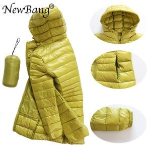 Image 4 - NewBang 8XL Ladies Long Warm Down Coat With Portable Storage Bag Women Ultra Light Down Jacket Womens Overcoats Hip Length