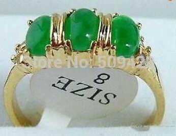 จัดส่งฟรีสีเขียวหยก3ลูกปัด18KGPแหวนขนาด: 8 #