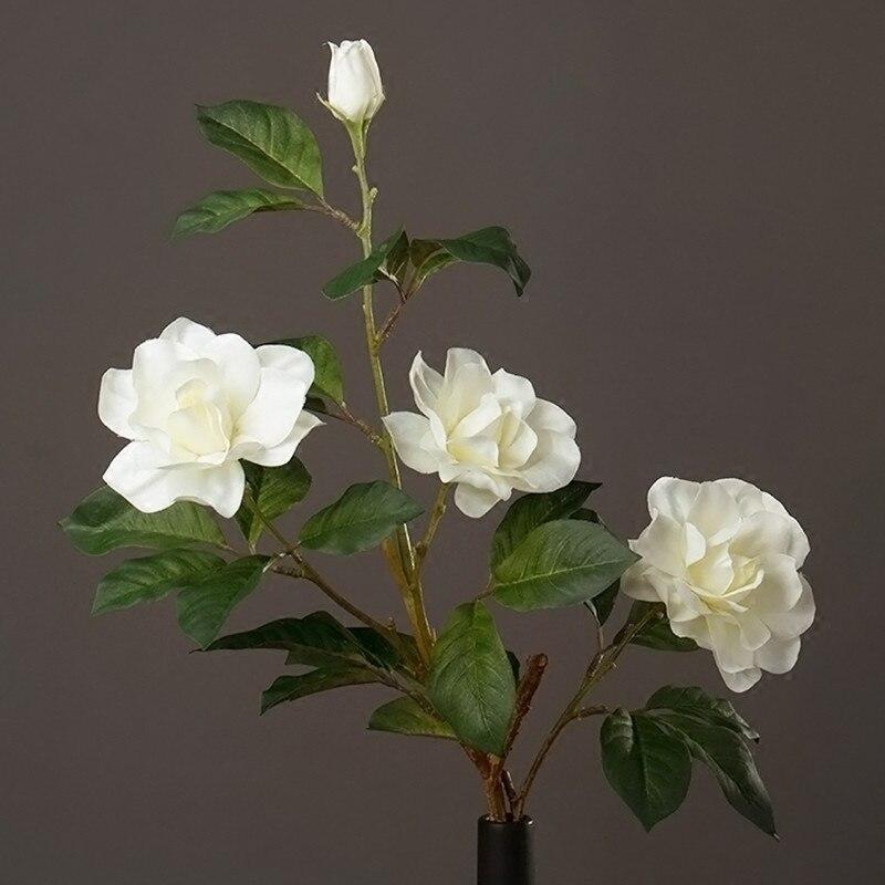 소박한 스타일 가짜 꽃 아름다운 흰색 인공 Gardenia 홈 장식 거실 디스플레이 실크 꽃 휴일 장식