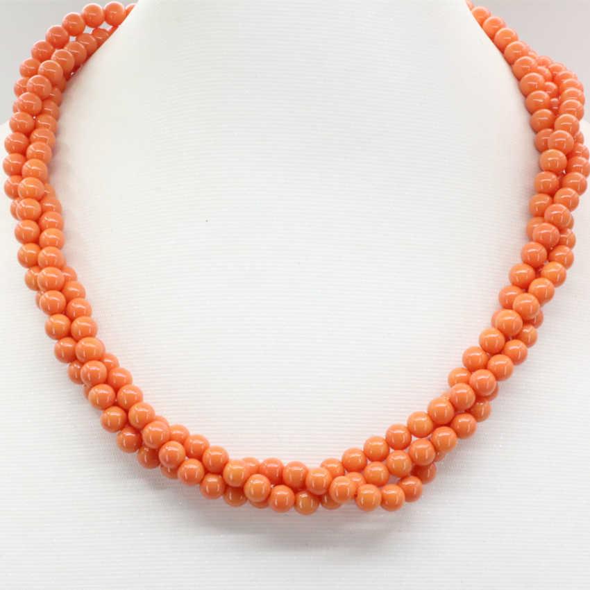 6 мм оранжевые искусственные круглые Коралловые бусы 3 ряда намотки цепи ожерелье для женщин высокое качество подарки Ювелирные изделия 18 дюймов B3184