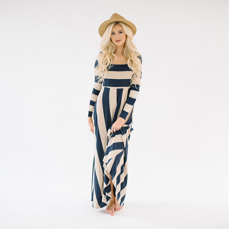 JTCY 2019 Fashion Striped Maxi Dress Black White Casual Long Sleeve Loose Women Dress O-neck Autmunn Party Holiday Ladies Dress
