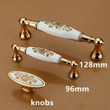 128mm golden kitchen cabinet dresser door handle knob 96mm white golden flower ceramic drawer cupboard knob pull moden furniture